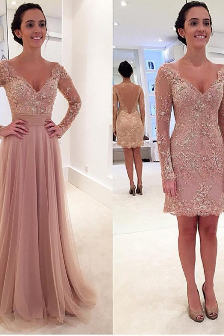 b8e49fecad3 A-Line Deep V-Neck Sweep Train Long Sleeves Blush Tulle Prom Dress with  Appliques - Wisebridal.com