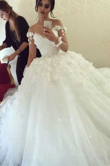 Delicate Illusion Neck Long Sleeves Ball Gown Wedding Dress with ...