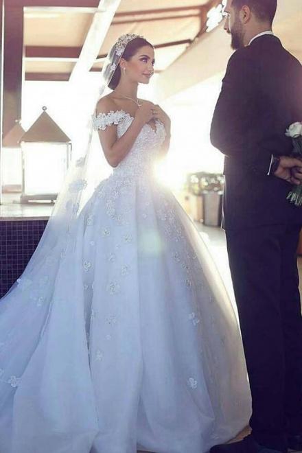 Stylish Off Shoulder Court Train Organza Wedding Dress with Lace ...