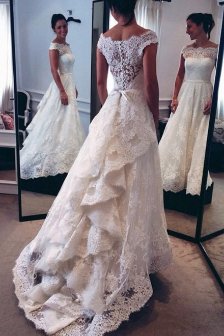 Nectarean Off Shoulder Cap Sleeves Sweep Train Lace Wedding Dress ...