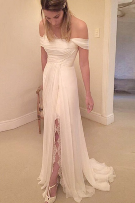 Simple Strapless Short Long Ruched Chiffon Wedding Dress With Lace Legslit    Wisebridal.com