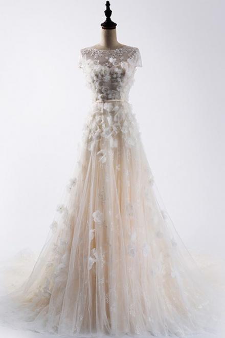 8563c579c2f Elegant Bateau Cap Sleeves Sweep Train Lace Wedding Dress with Patchwork  Pearls Sash - Wisebridal.com