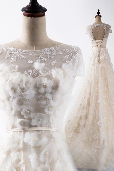 e47239c7d51 Elegant Bateau Cap Sleeves Sweep Train Lace Wedding Dress with ...