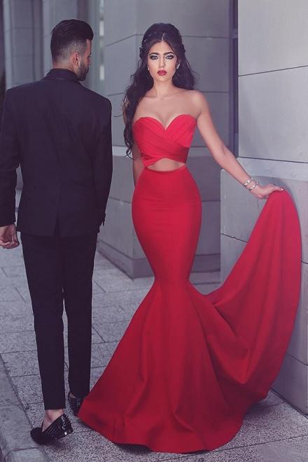 0b694c6fdd4 Mermaid Sweetheart Sweep Train Keyhole Cut Out Red Stretch Satin Prom Dress  - Wisebridal.com