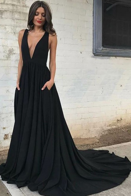 A-Line Deep V-Neck Backless Court Train Black Prom Dress with ...