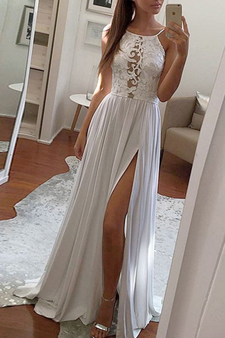 A-Line Scoop Sweep Train Light Grey Prom Dress with Lace Split ...