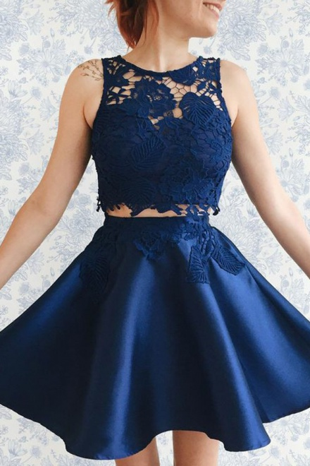 Two Piece Bateau Short Dark Blue Satin Homecoming Dress With Lace Liques Wisebridal