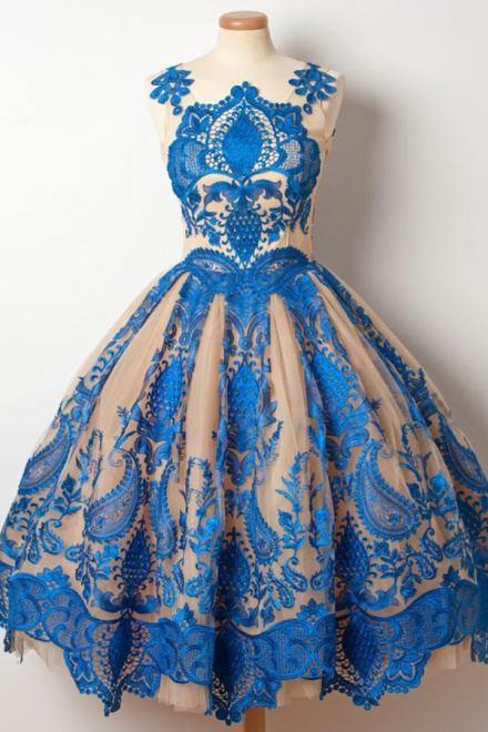 5f6cf60ff7b A-Line Jewel Tea-Length Champagne Tulle Homecoming Dress with Royal Blue  Appliques - Wisebridal.com