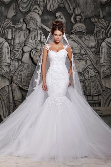 Beauty Tulle Mermaid Lace Wedding Dress with Wedding Veil ...