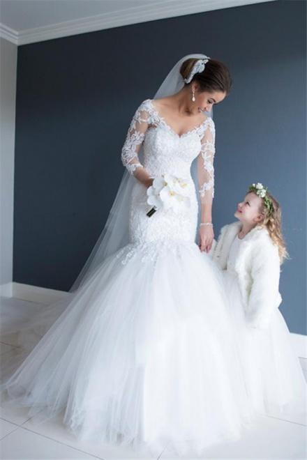 2018 Elegant Lace Tulle Cathedral Wedding Dresses V-neck Mermaid ...