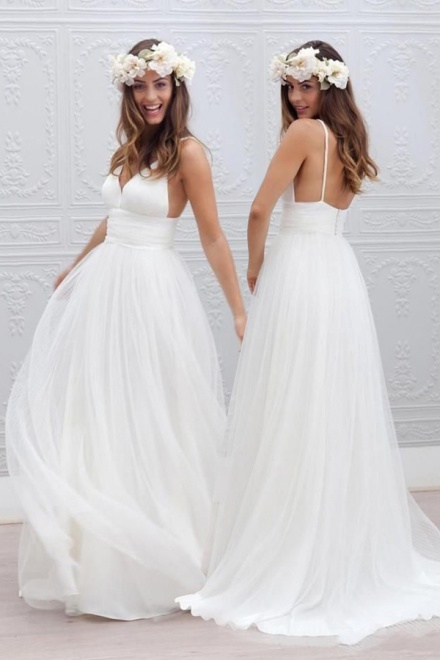 Elegant Simple V-neck Spaghetti Straps Wedding Dress Open Back ...