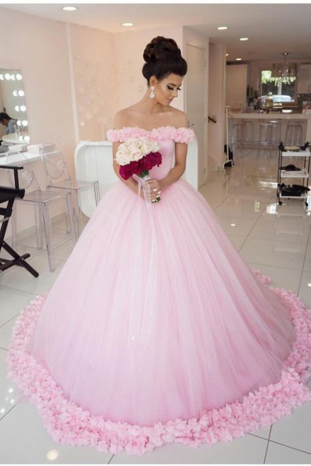 Chic Pink Off The Shoulder Evening Dresses 2018 Ball Gown Flowers Puffy Wedding Wisebridal