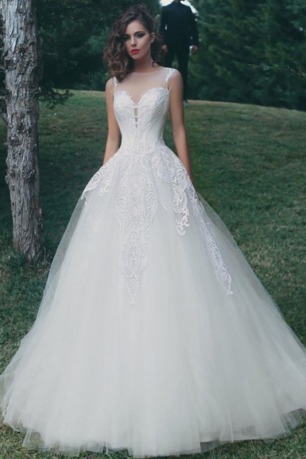 Tulle Liques A Line Elegant Summer Bride Dress 2018 Sleeveless Glamorous Wedding Wisebridal