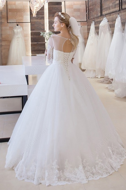 Princess Lace-Up 2018 Bride Dress Cheap Stunning Floor-Length Lace ...