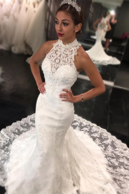 Sweep train high neck bride dress 2018 retro lace sleeveless mermaid sweep train high neck bride dress 2018 retro lace sleeveless mermaid newest wedding dress wisebridal junglespirit Choice Image