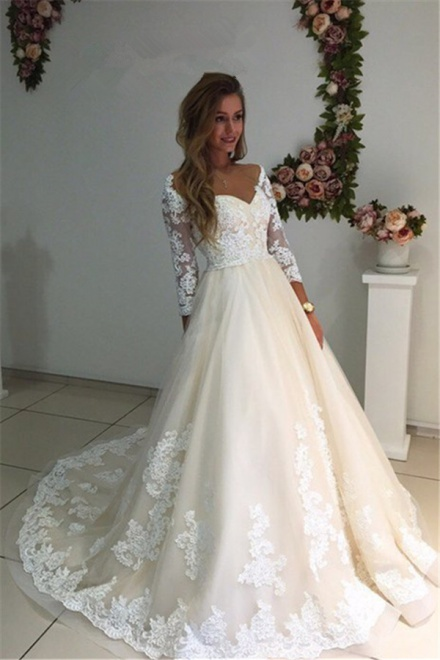 36160ef000cf 3/4 Sleeves Bridal Gowns 2018 A-Line Champagne Appliques Tulle Backless  Lace Wedding Dresses - Wisebridal.com