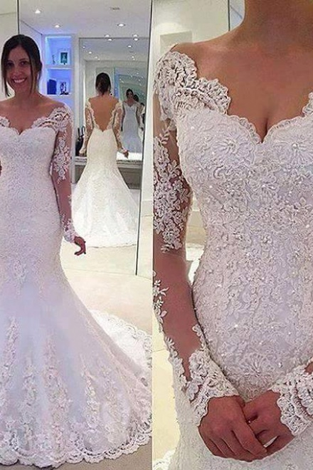 Elegant Off-the-Shoulder Long Sleeves Bridal Gowns Lace Mermaid ...