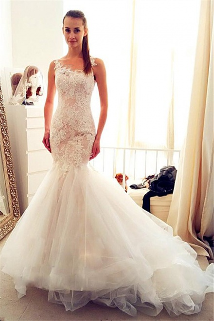 Sleevelss Sheath Mermaid Wedding Dresses Lace 2018 Tulle Long Bridal ...