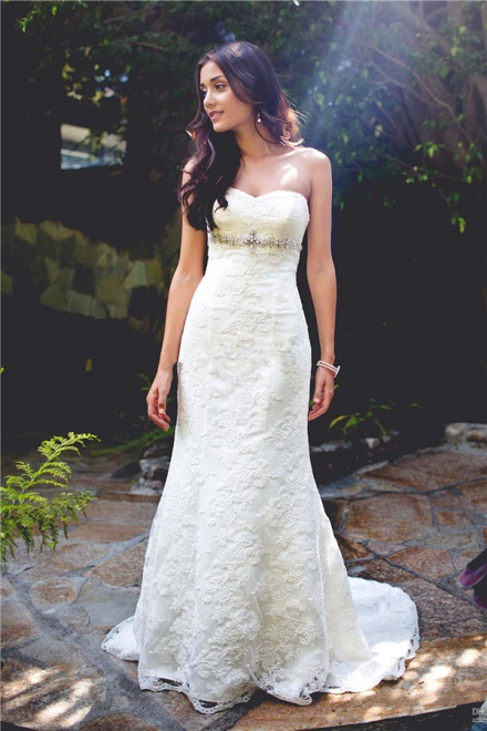 Strapless Lace Wedding Dress 2018 Simple Summer Outdoor Wedding ...
