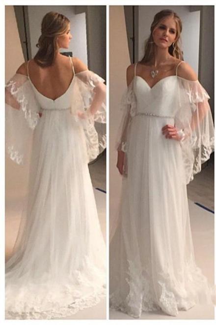 Spaghetti Straps Sweetheart Beach Wedding Dress 2018 Illusion ...