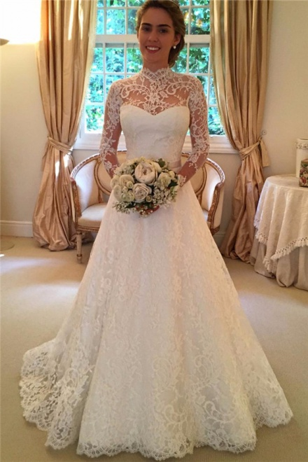 2018 High Neck Lace Open Back Wedding Dress Vintage Long Sleeves Bridal Gown  With Bow   Wisebridal.com