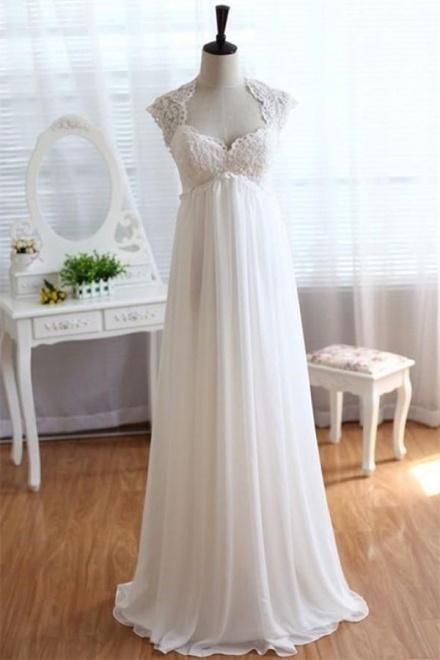 2018 Empire Waist Wedding Dress Lace Chiffon Summer Beach Bride ...