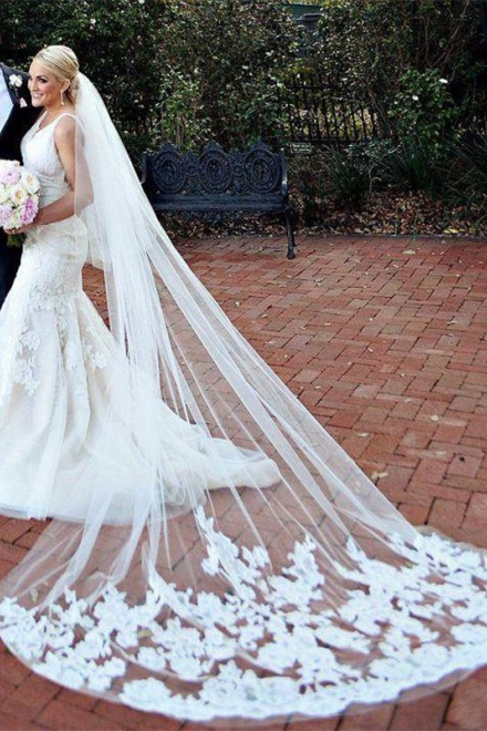 2018 Mermaid Wedding Gowns Online V Neck Lace Bride Dresses With Veil Wisebridal