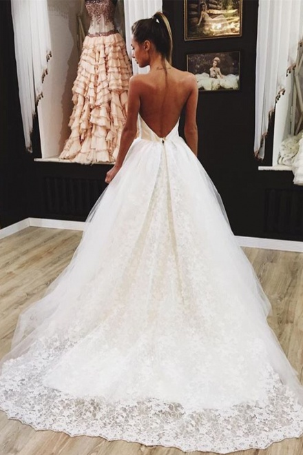 Lovely backless wedding dresses 2018 lace tulle sexy bride dress lovely backless wedding dresses 2018 lace tulle sexy bride dress wisebridal junglespirit Images