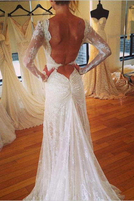31d41da65e9 Vintage V-Neck Long Sleeve Wedding Dress Tulle Applique Open Back 2018  Brudal Gown - Wisebridal.com