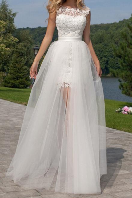 Cute Halter Short Lace Bridal Dresses with Detachable Tulle Open ...