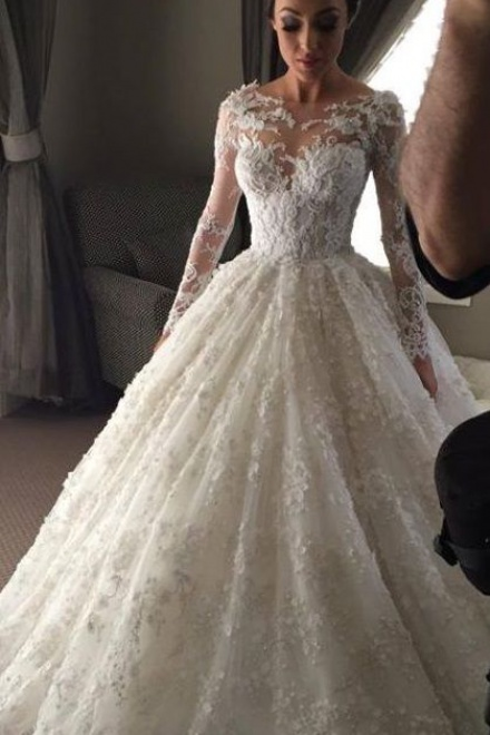 093bfa05aea New Arrival Ball Gown Princess Dress Long Sleeve 3D Lace Wedding Dress 2018  BA2810 - Wisebridal.com