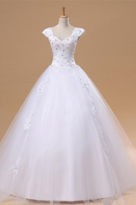 462034903ff Elegant White Lace Puffy Wedding Dress New Arrival Floor Length Ball Gown  Bridal Gowns - Wisebridal.com