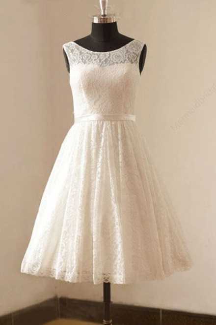Cute White Short Lace Beach Wedding Dresses Cheap Knee Length Zipper ...
