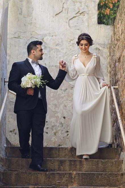 Ivory Chiffon Long Bubble Sleeve Vintage Wedding Dresses Simple ...