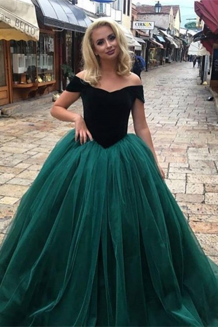 Glamorous Off-The-Shoulder Tulle Ball Gown Prom Dress Long Party ...