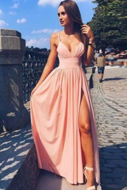 Simple Spaghetti Strap V Neck Pink Prom Dress Long Evening Dress ...