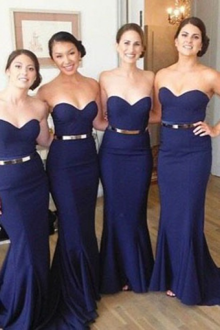 Long Dark Blue Prom Dress - Mermaid Strapless with Gold Belt ...
