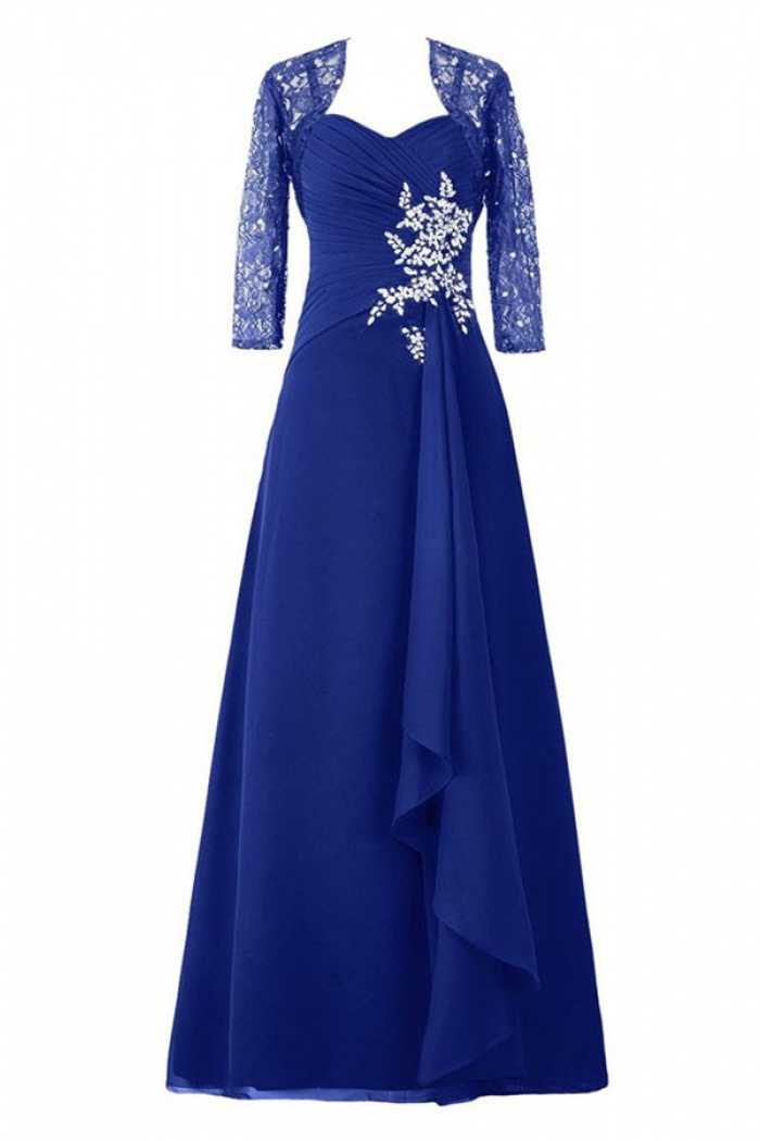 Dignified Sweetheart Royal Blue Mother Of The Bride Dress With Beading Lace 3 4 Sleeves