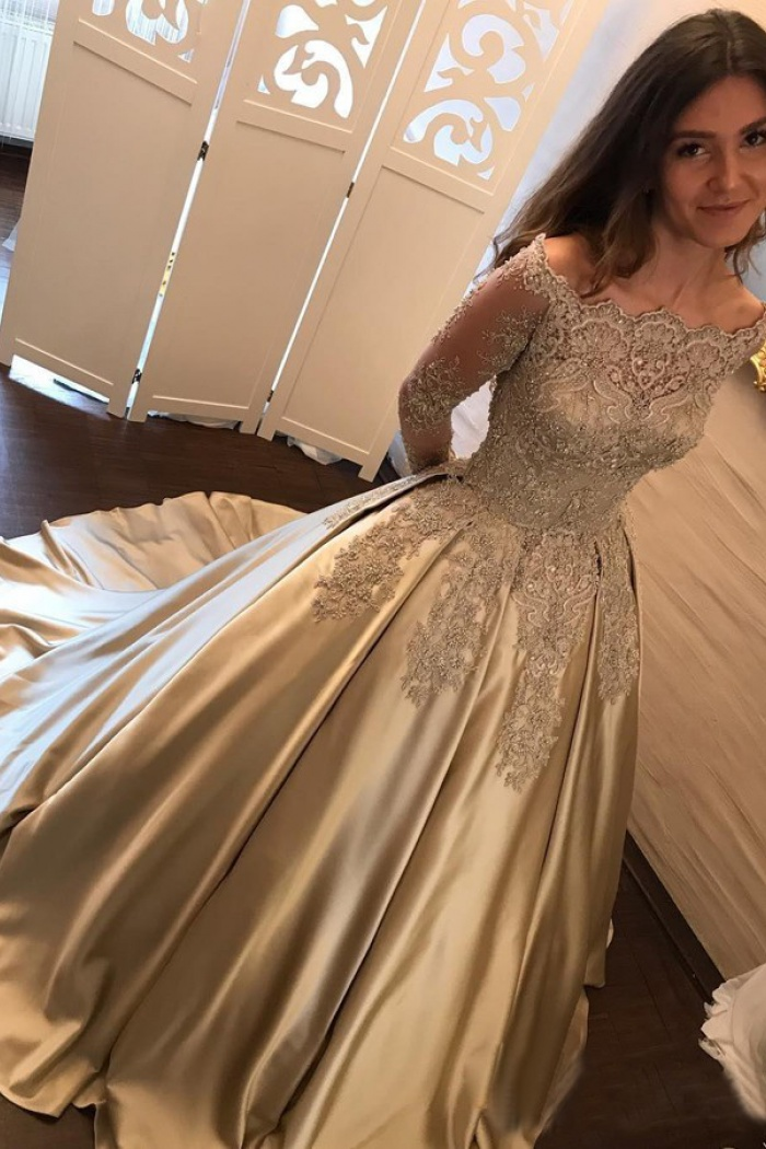 Ball Gown Off-the-Shoulder Champagne Satin Prom Dress with Lace ...