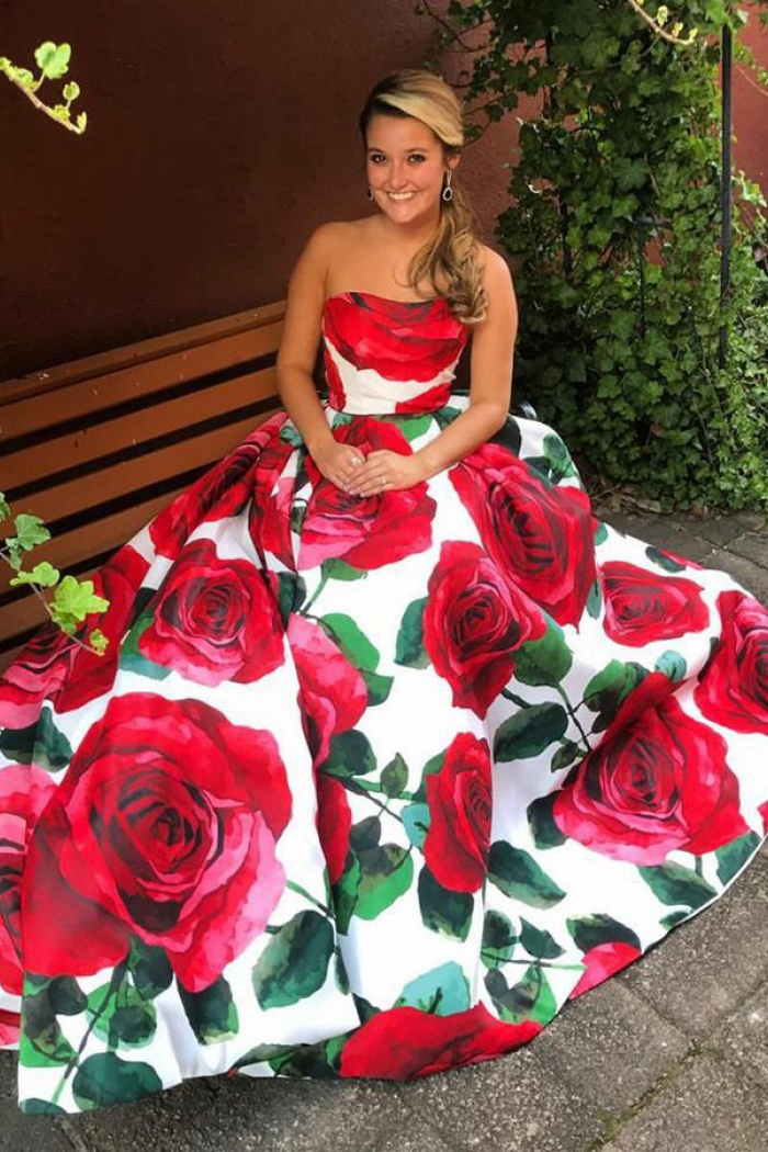 A Line Sweetheart Floor Length Red Rose Floral Prom Dress