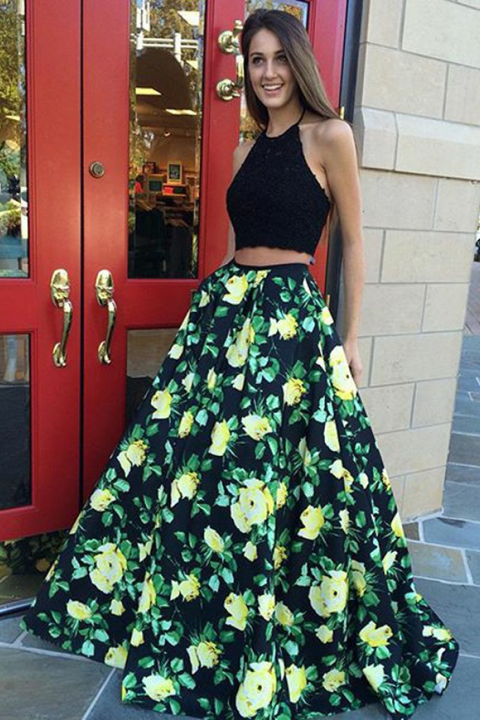 9eeebaee4d3755 Two Piece Halter Floor-Length Black Floral Satin Prom Dress with Appliques 0