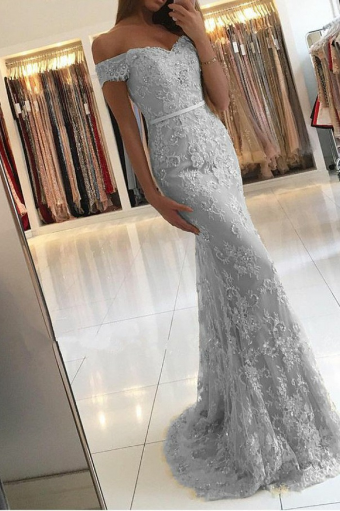 Mermaid Off The Shoulder Light Gray Lace Prom Dress With