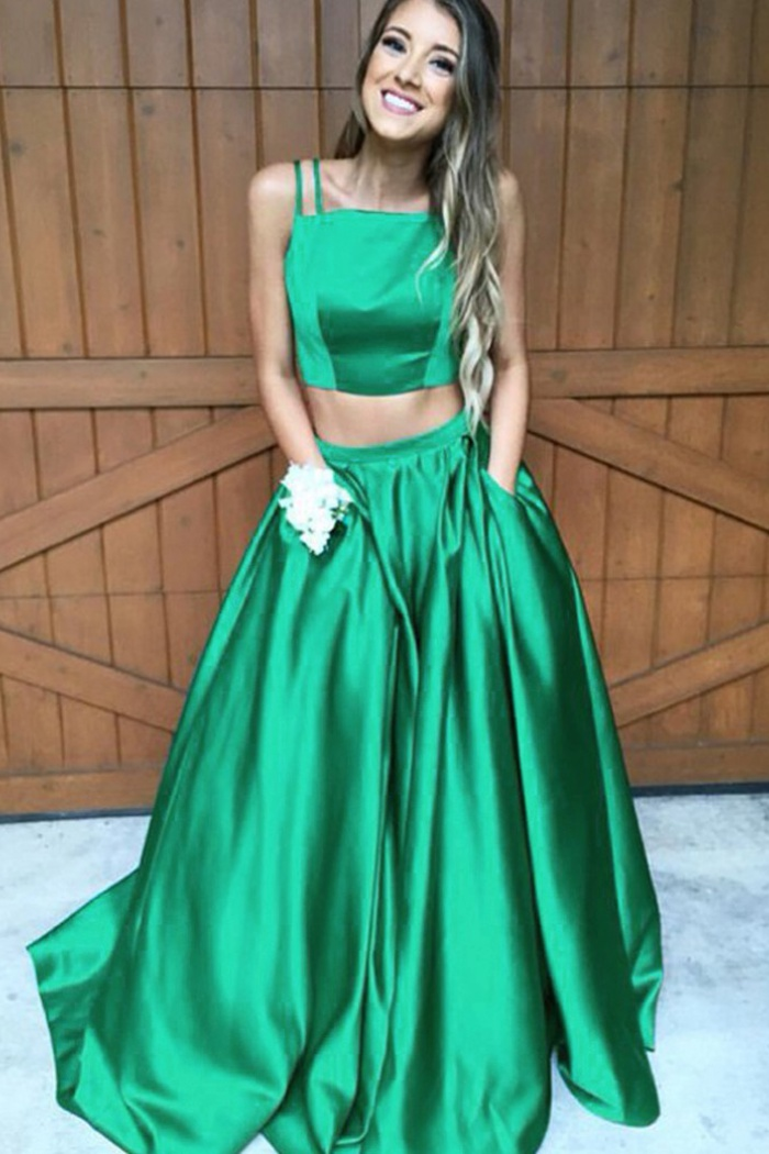 hot-selling real latest sale discount for sale Two Piece Square Neck Sleeveless Sweep Train Green Satin Prom Dress with  Pockets