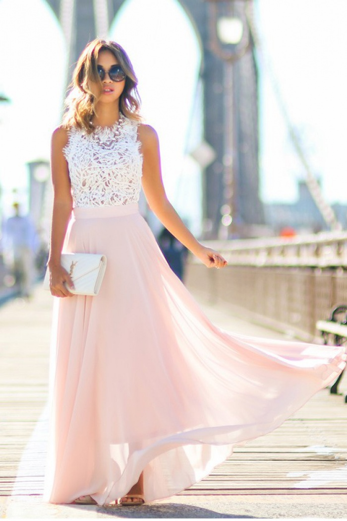 954f6e5247 Gorgeous Crew Long Pink Chiffon Prom Dress with White Lace Top ...