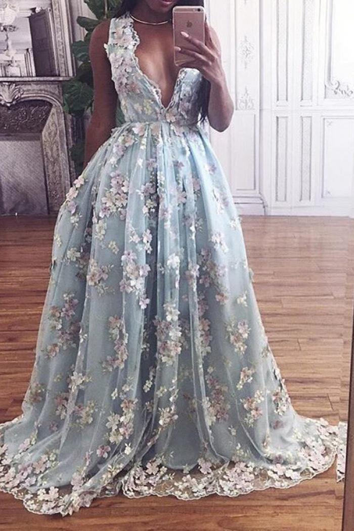 f1bc1b42e87 A-Line Deep V-Neck Floor-Length Light Sky Blue Prom Dress with ...