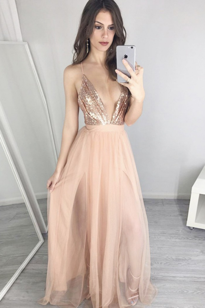 26d661f2c6049f A-Line Deep V-Neck Floor-Length Champagne Tulle Prom Dress with Sequins