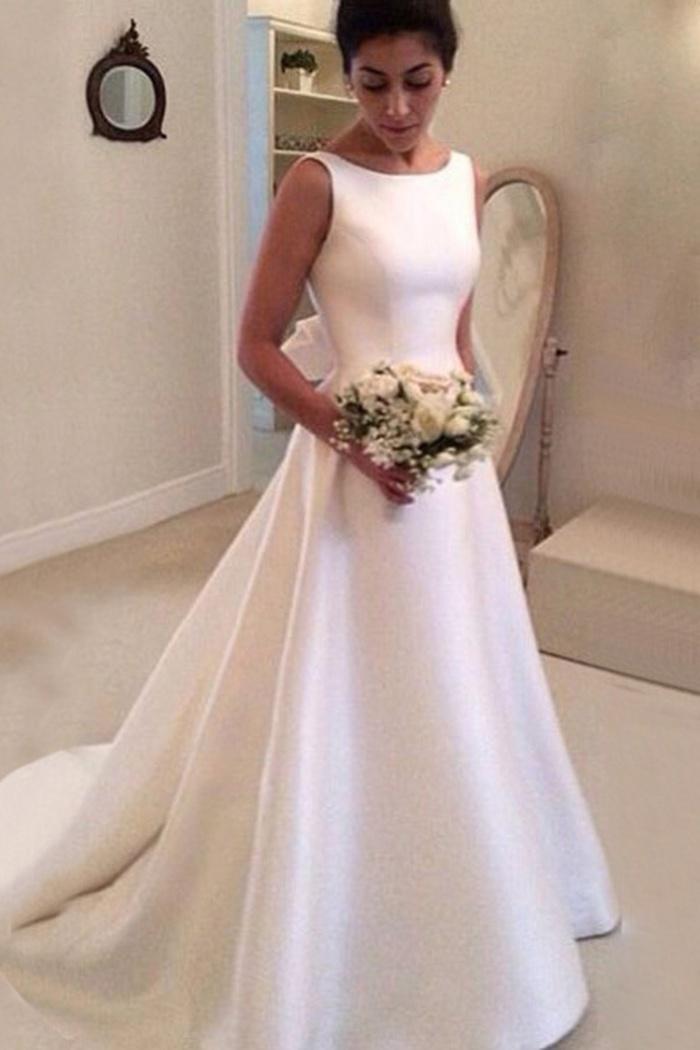 Simple Bateau Backless Court Train A-Line Wedding Dress ...