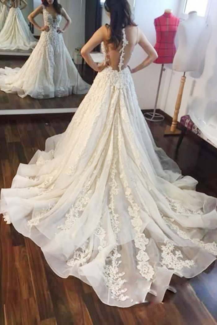 A Line Jewel Illusion Back Court Train Wedding Dress With Lace