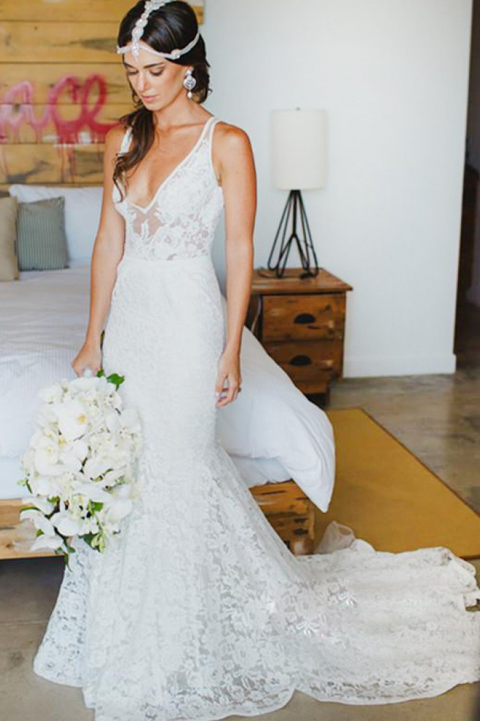 Mermaid Style Wedding Dress.Mermaid Style Lace V Neck Court Train Beach Wedding Dress