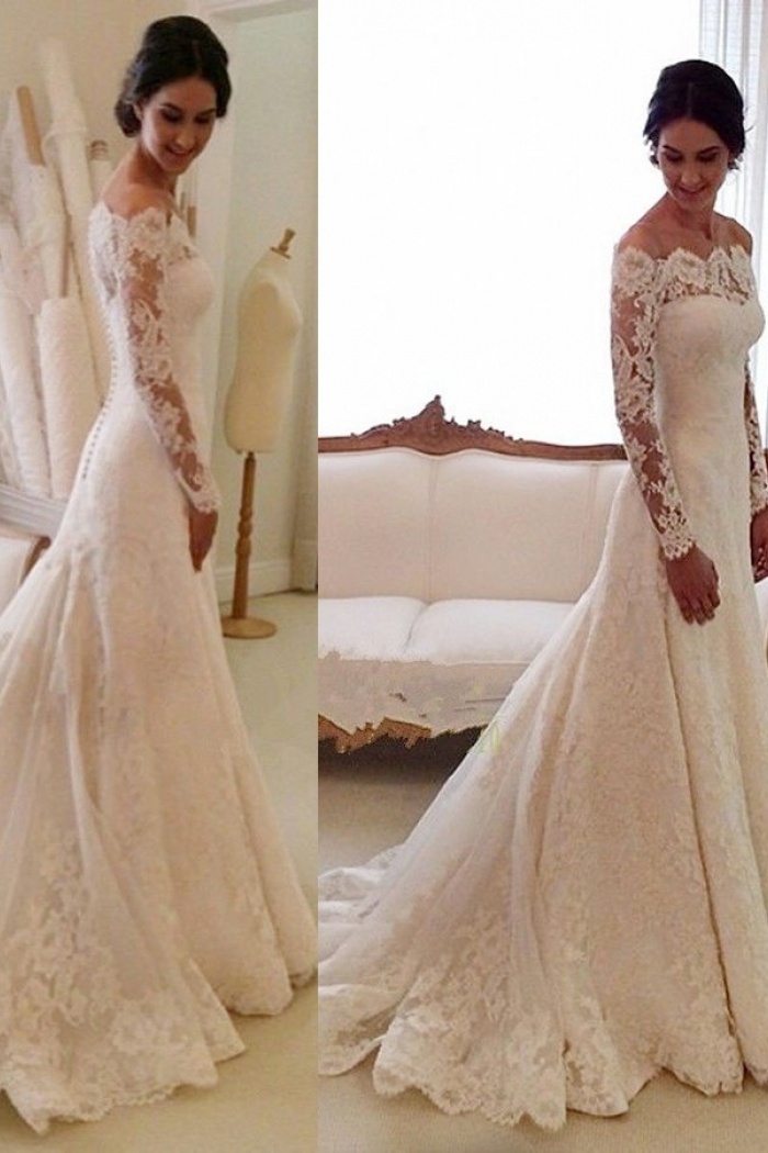 Mermaid Off-the-shoulder Court Train Ivory Lace Long Sleeves Wedding ...